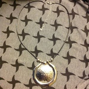 Silver-tone medallion statement necklace